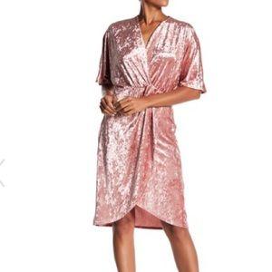 Surplice Neck Crushed Velvet Dress